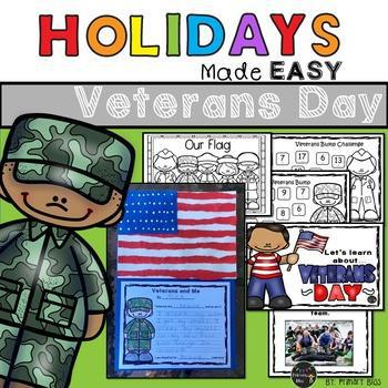 Veterans Day Mini Unit - Reading, Writing & Art Activities (Holidays Made Easy)