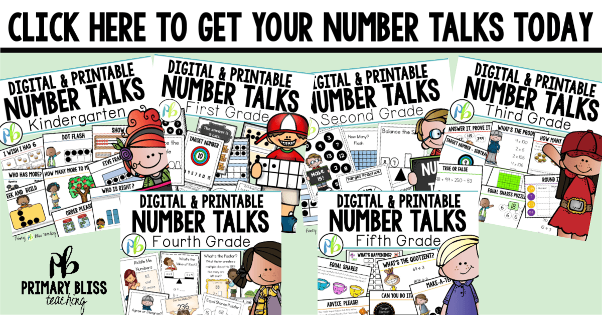 kindergarten number talks, first grade number talks, second grade number talks, third grade number talks, fourth grade number talks, fifth grade number talks, math talks