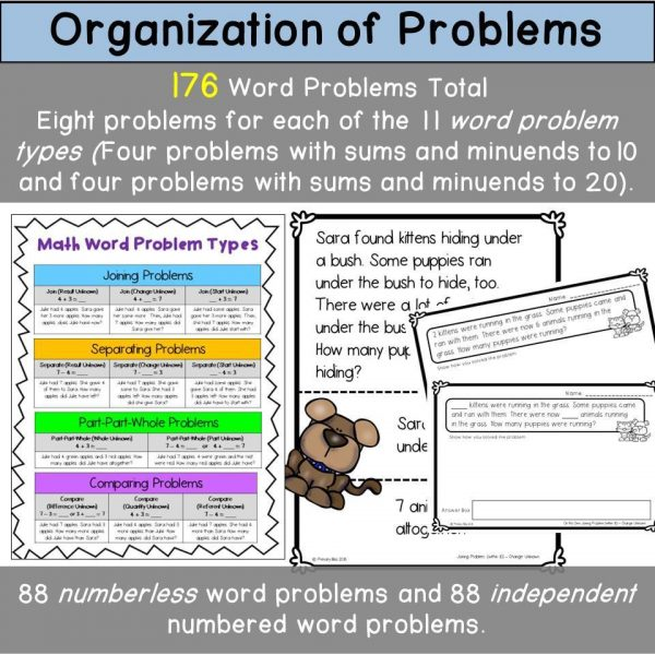 Numberless & Numbered Word Problems (story problems within 20)