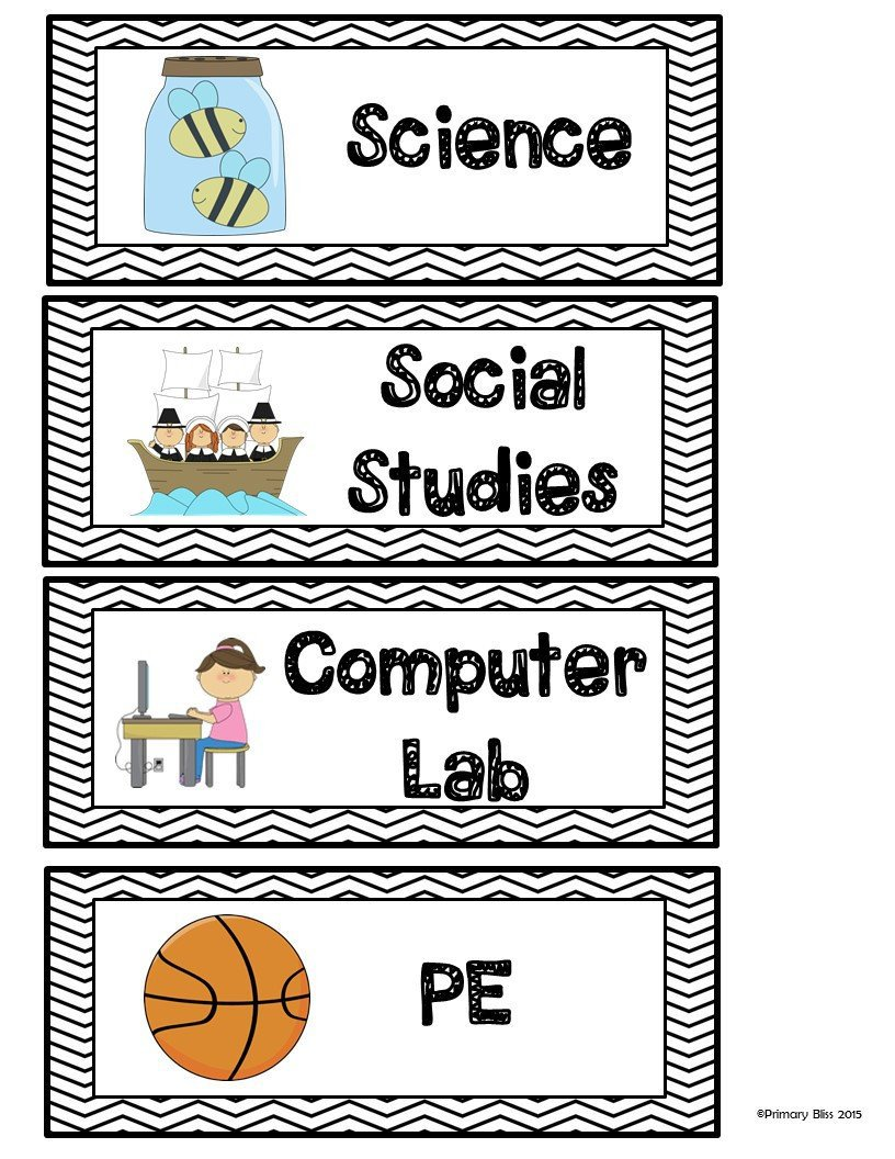Class Schedule Cards - Back To School