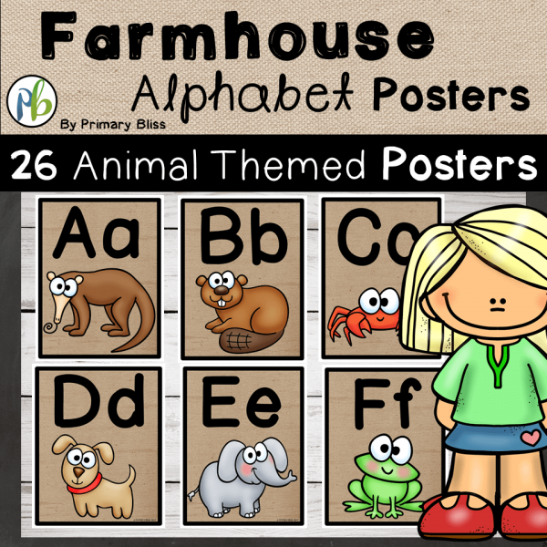 Farmhouse Decor Alphabet Posters