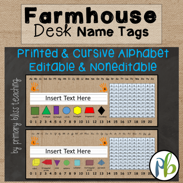 Farmhouse Decor Desk Name Tags