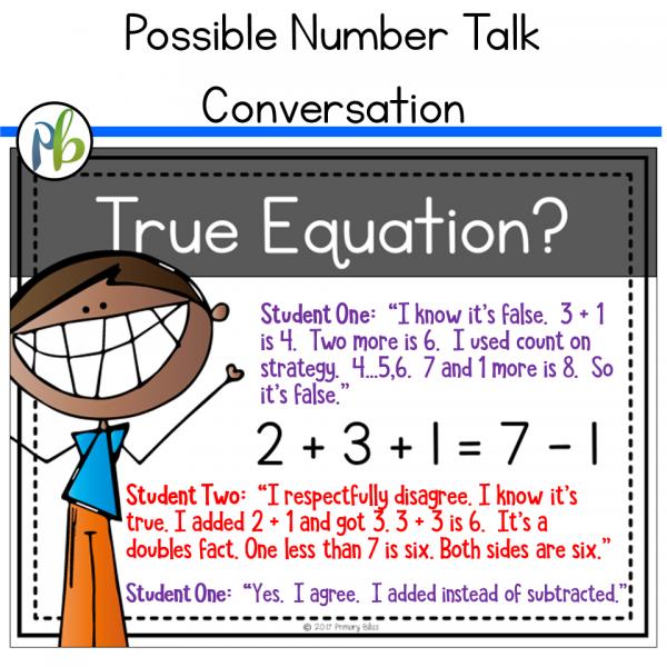 Number Talks - Meaning of Equal Standard Focus (DIGITAL and Printable)