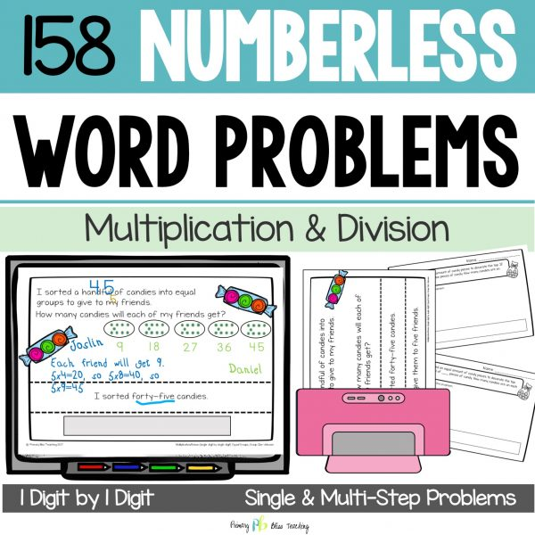 Numberless Word Problems Multiplication