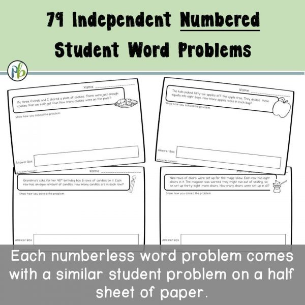 Number Talks: Numberless Math Word Problems (single by single digit Multiplication  & Division)
