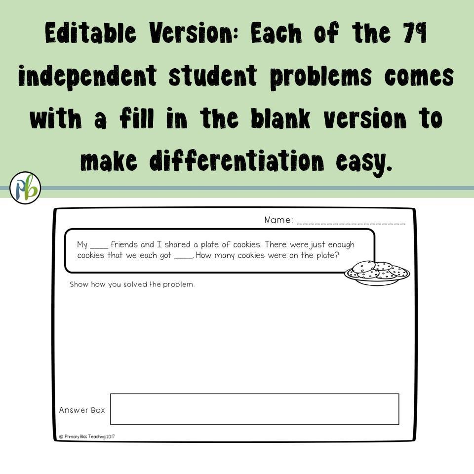Number Talks Numberless Math Word Problems Single By
