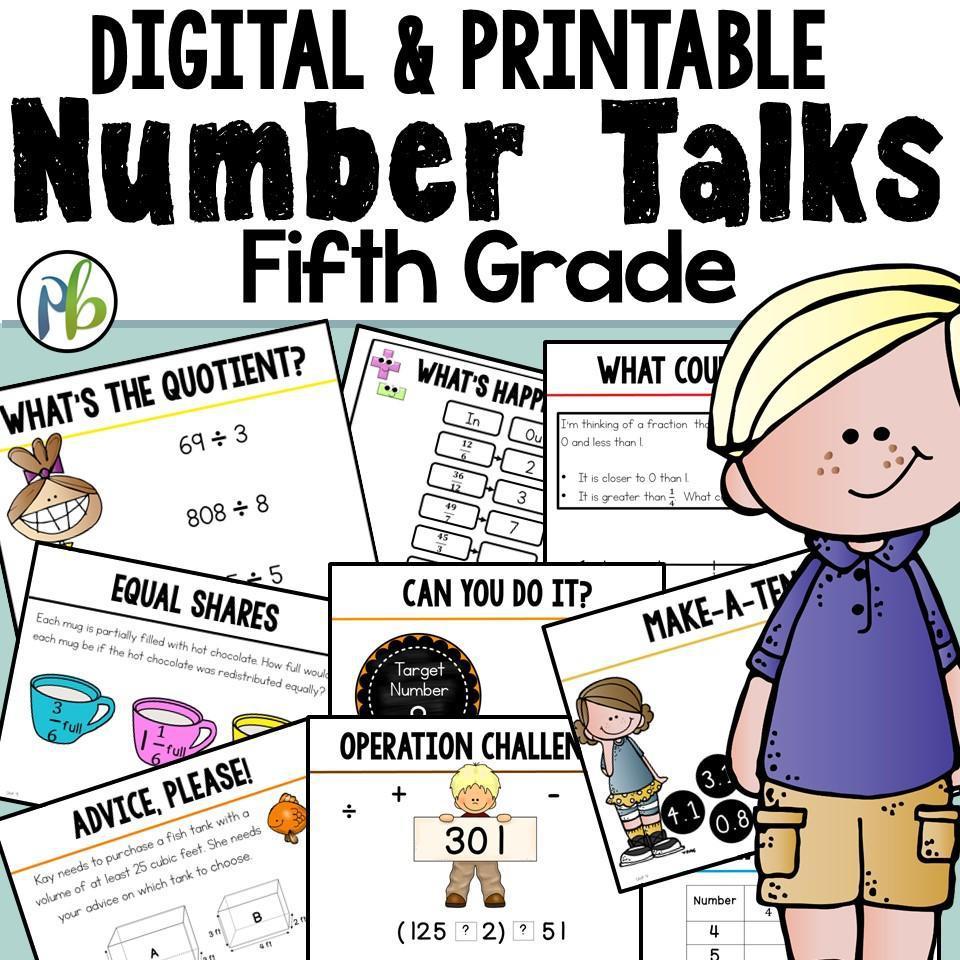 Fifth Grade Number Talks -  (Digital and Printable) - Yearlong Program