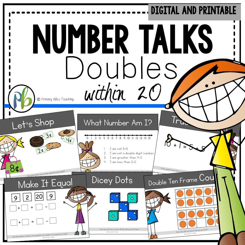Number Talks - Doubles Strategy within 20 Focus (Digital and Printable)