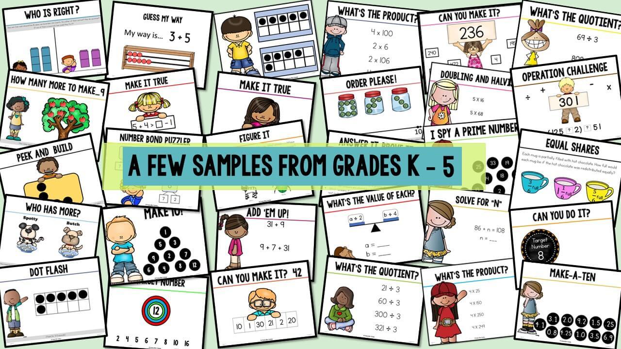 kindergarten number talks, first grade number talks, second grade number talks, third grade number talks, fourth grade number talks, fifth grade number talks