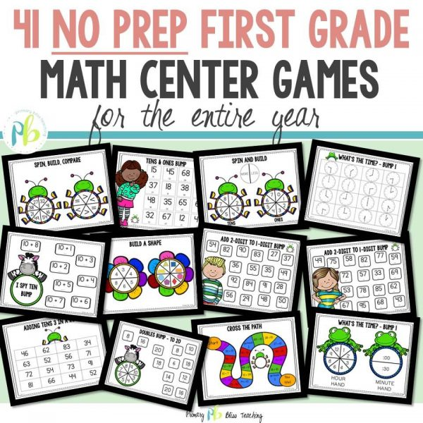First Grade Math Center Games