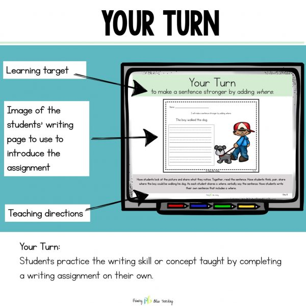 "First Grade Writing ""Your Turn"" slide"