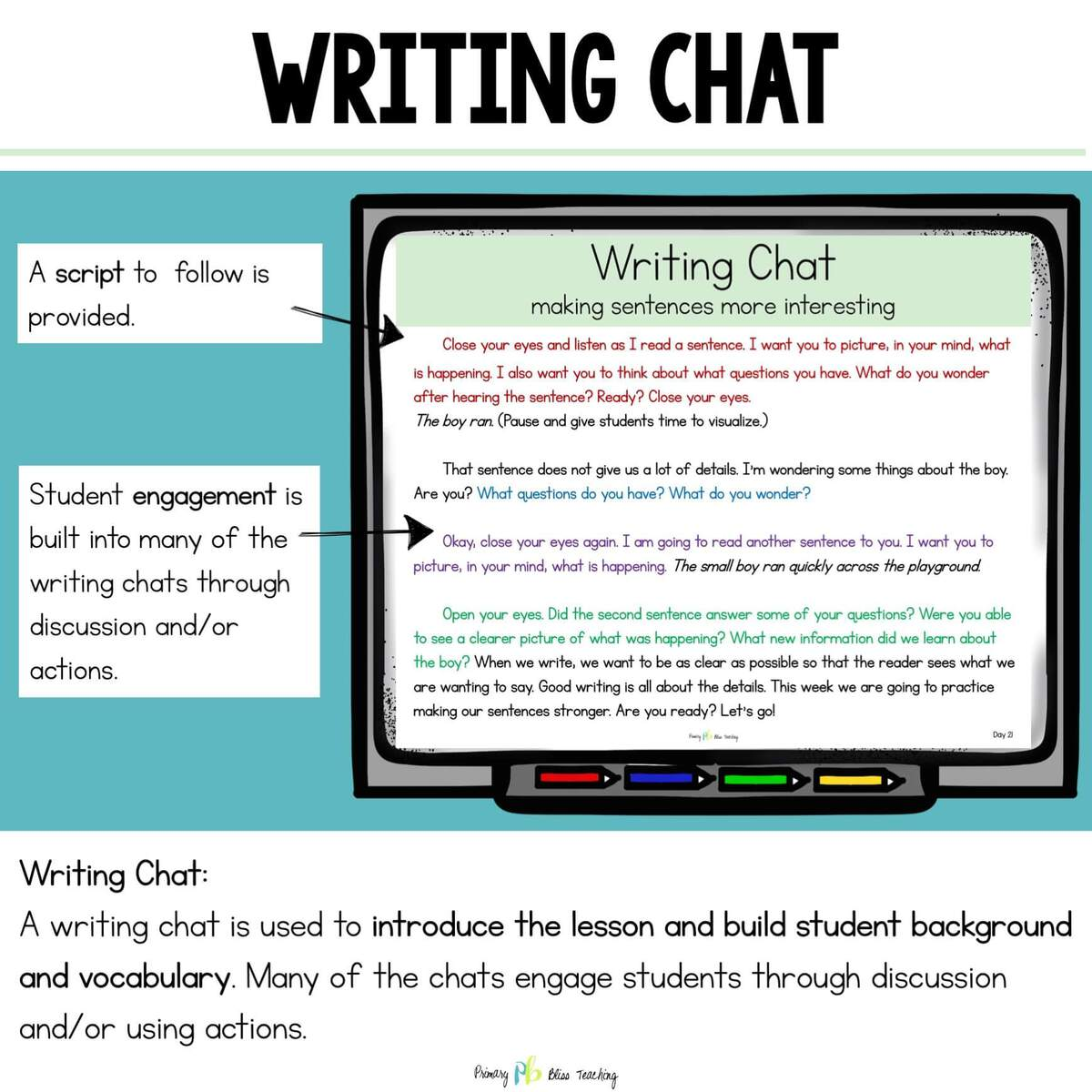 First Grade Writing Chat example