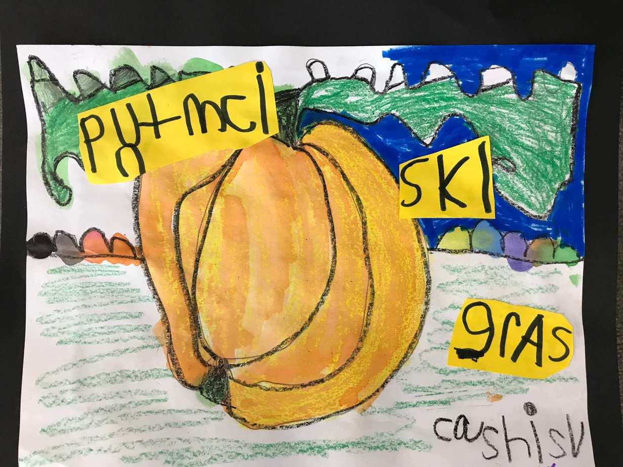 Pumpkin labeling first grade