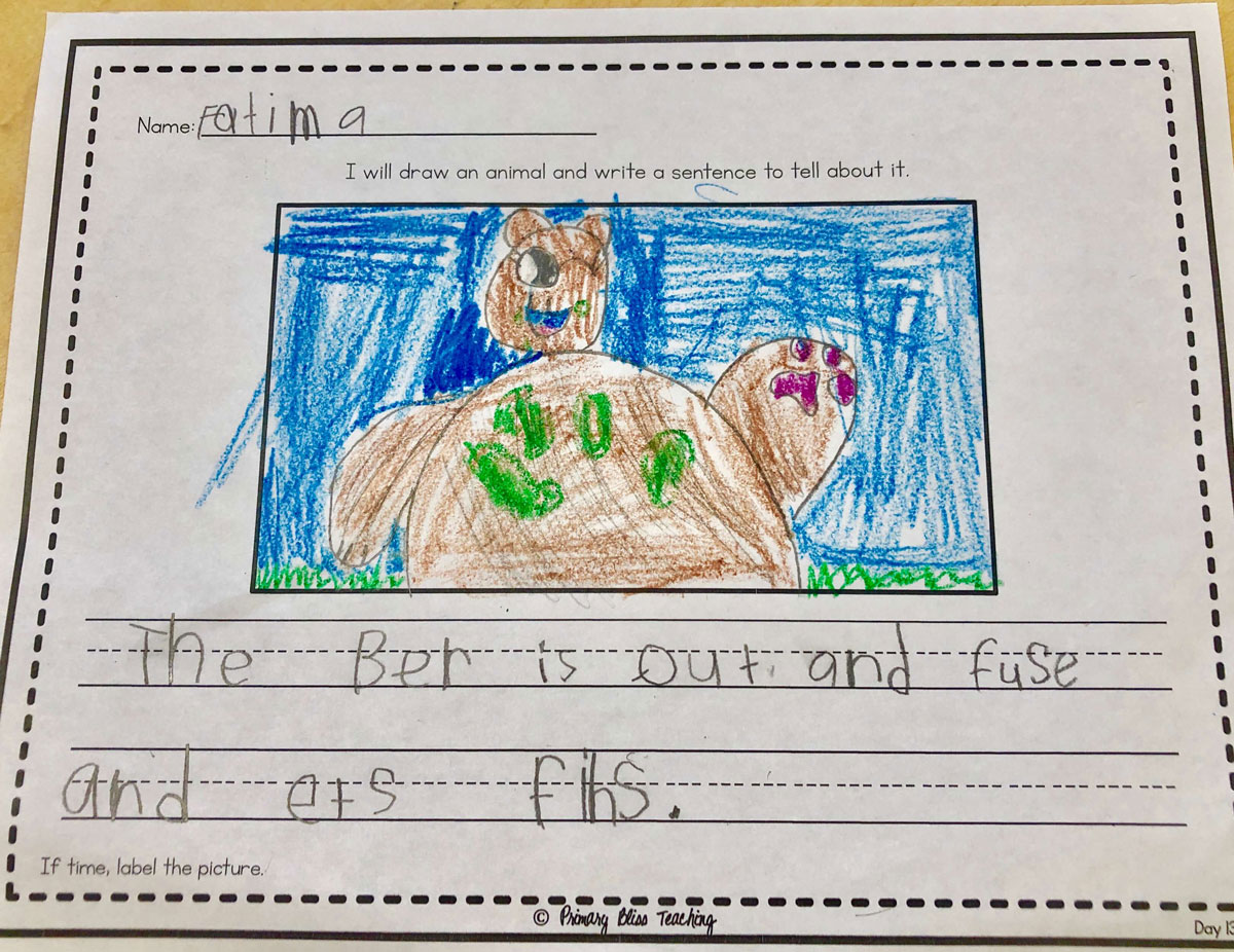 First grade drawing and sentence