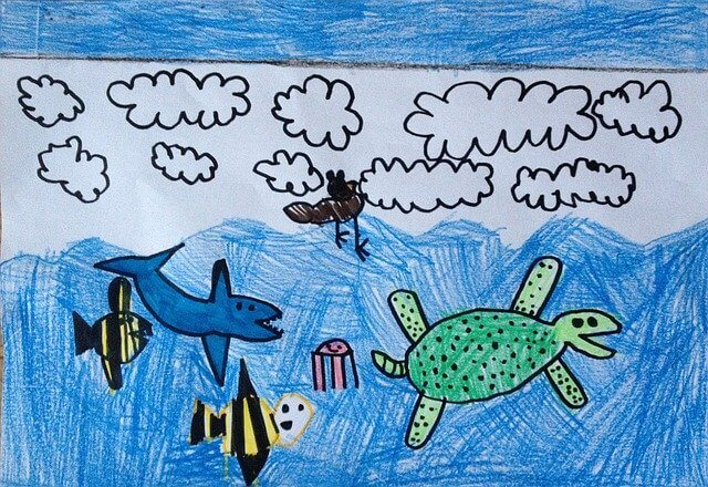 kid drawing of the sky