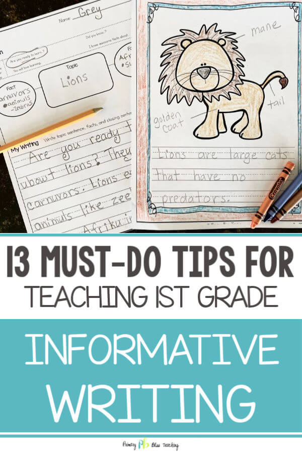 TEACHING INFORMATIVE WRITING IN FIRST GRADE Primary Bliss Teaching