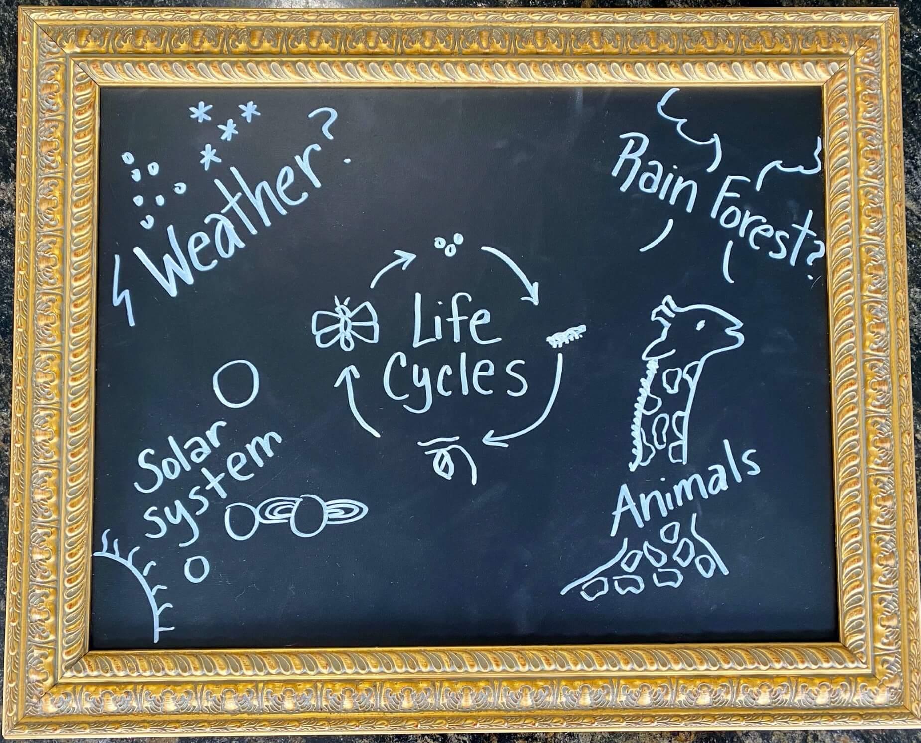 chalkboard with informative ideas written on it