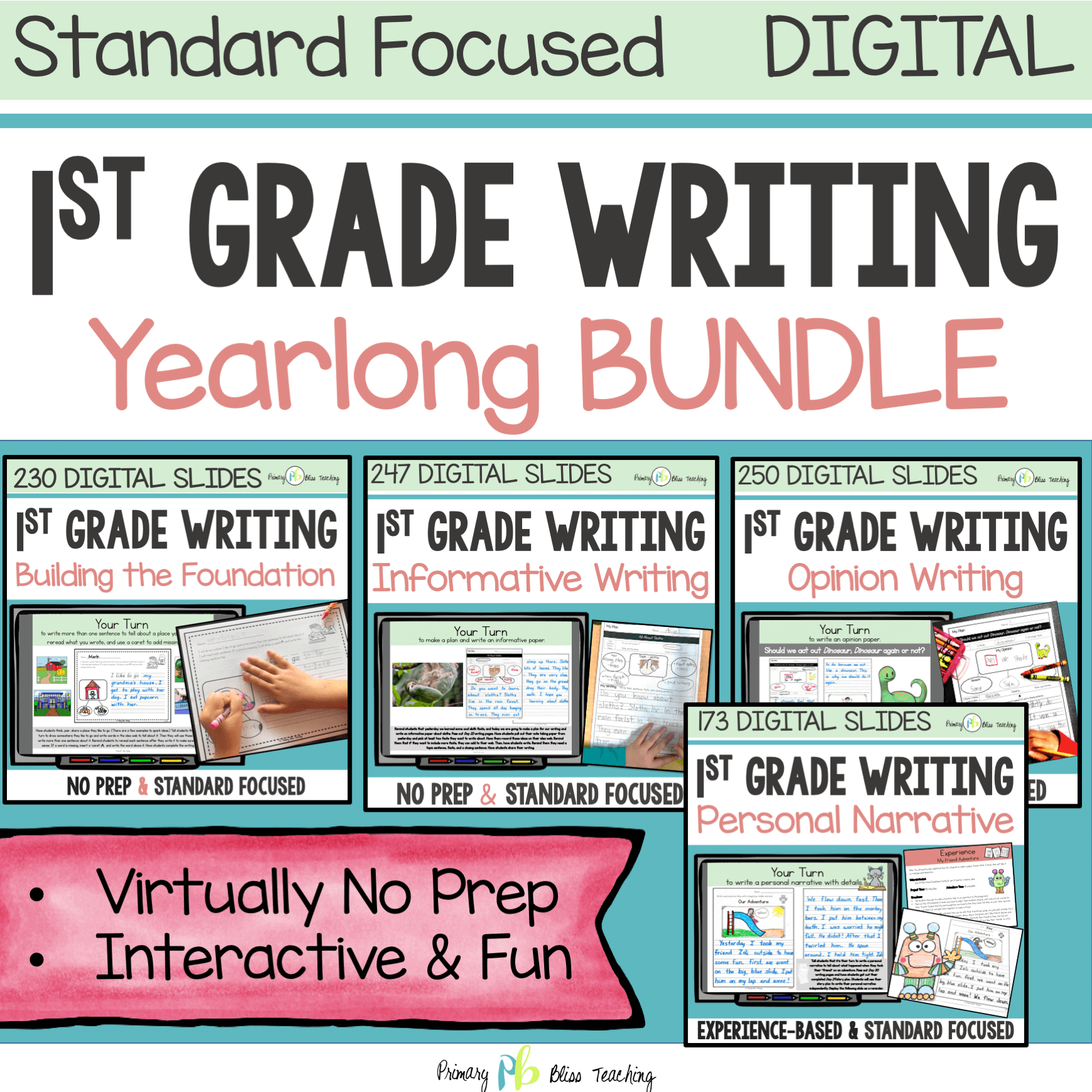 cover of yearlong first grade writing curriculum